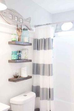 Rustic floating shelves above toilet. Rustic floating shelves above toilet. What length must curtains be? Nautical Bathroom Design Ideas, Beach Theme Bathroom, Bathroom Kids, Bathroom Renos, Bathroom Designs, Bathroom Storage, Bathroom Shelves, Toilet Storage, Pirate Bathroom