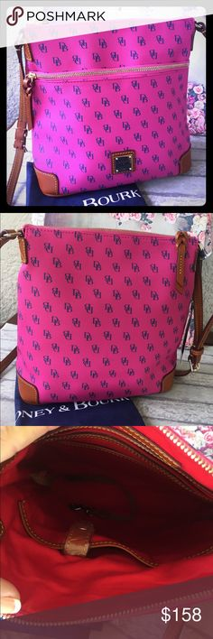 """Authentic Dooney & Bourke Pebble Grain Crossbody Dooney & Bourke Pebble Grain Crossbody NG264 KU Fushia/Blue. The rich texture and exceptional durability of Pebble Grain Leather has made it one of the most popular collections. The slim , hands-free Crossbody is also a fan favorite. Size - H 10.25"""" x W 4"""" x L 10.5"""" One outside zip pocket. One Inside zip pocket. Two Inside pockets, cell phone pocket, inside key hook. Adjustable strap, Strap drop length 25"""", lined, zipper closure. Brand New…"""
