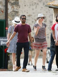 Jennifer Lawrence with Aziz Ansari while sightseeing in Italy