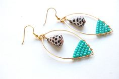 Turquoise Colored Czech Glass Wire Wrapped Hoops with Natural Hebrew Shell