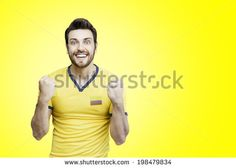 Colombian soccer player celebrates on yellow background