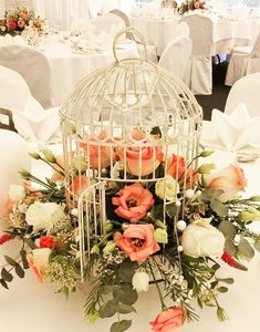 , The bird cage is both a property for the chickens and an ornamental tool. You can pick anything you want one of the bird cage designs and get a whole lot more specific images. Bird Cage Centerpiece, Table Centerpieces, Wedding Centerpieces, Wedding Table, Diy Wedding, Wedding Flowers, Wedding Decorations, Table Decorations, Birdcage Wedding