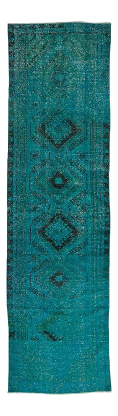 Vintage Turkish Turquoise Blue Overdyed Runner Rug - 3′4″ × 12′ on Chairish.com