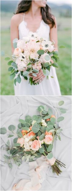 Greenery eucalyptus wedding bouquets #green #wedding #weddingideas #dpf #deerpearlflowers / see more ❤️ http://www.deerpearlflowers.com/eucalyptus-wedding-decor-ideas/