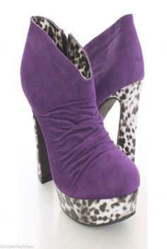 Purple Bootie boots stripper cow print chunky heel platform ankle boots size 6.5