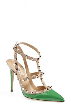 Wearing these green 'Rockstud' Valentino pumps for St. Patrick's Day.