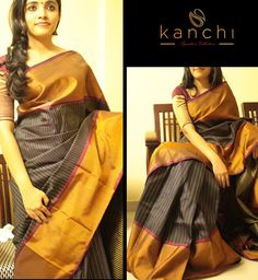 Beautiful black kanchipuram saree
