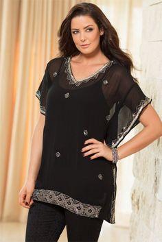 Plus Size Women s Fashion - Evans Beaded Trim Blouse - EziBuy Australia 81d9f5d07f7