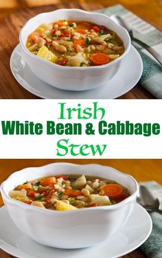 Irish White Bean & Cabbage Stew: Created from basic ingredients and seasonings found in Irish home cooking, this hearty vegan Irish stew is a healthy, filling meal all on its own. Irish Recipes, Soup Recipes, Whole Food Recipes, Vegetarian Recipes, Cooking Recipes, Healthy Recipes, Cooking Videos, Vegan Cabbage Recipes, Healthy Filling Meals