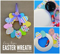 Easy Paper Easter Wreath - Easy diy wreath form from a paper plate, could cut a piece of card board from a box like this to us - Bunny Crafts, Easter Crafts For Kids, Crafts To Do, Paper Crafts, Geek Crafts, Paper Paper, Free Paper, Kraft Paper, Easter Ideas