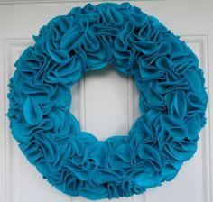 Turquoise Felt Ruffle Wreath by Blissful Meandering