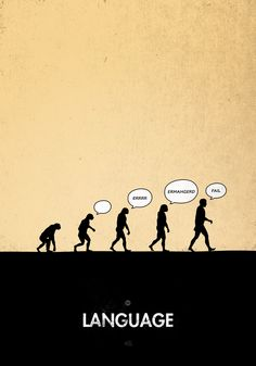 99 Steps of Progress - Language by maentis Illustrations, Illustration Art, 99 Steps, Funny Definition, Human Evolution, Creative Advertising, Minimalist Poster, Environmental Art, Powerful Words