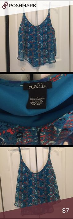 Rue21 spaghetti strap tank Rue21. Size Large. Has adjustable straps. Worn a few times. Super cute just not my style anymore! EUC. Rue 21 Tops Crop Tops