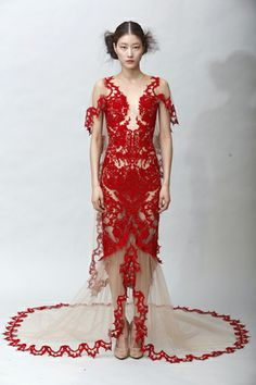 Marchesa - WOW! Embroidered red illusion dress with applique cascade skirt and shoulder