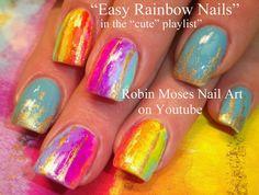 Easy Rainbow Watercolor Nail Art
