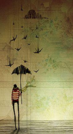 © Olena Shmahalo United States Digital Art / Drawings / Illustrations / Conceptual The Umbrella by ~ luminatii Art And Illustration, Street Art, Arte Sketchbook, Umbrella Art, Illustrators, Cool Art, Art Drawings, Art Photography, Images