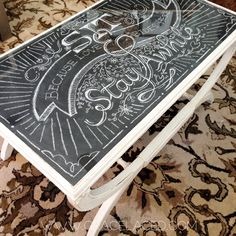 Chalk Art Coffee Table Top with Glass