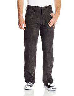 Akademiks Men's Rolodex Denim Jean, Black Blast, 32/32