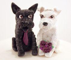 Custom Schnauzer Wedding Cake Toppers-handmade to order polymer clay figurines