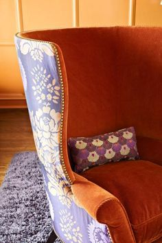 wingback chair with two contrasting fabrics from Traditional Home
