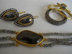 Pamela Harari's Back to Black - 22K gold baubles with diamonds