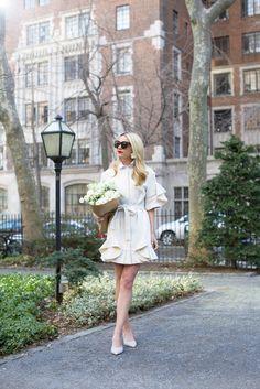 Ruffle Jacket:Goen.J/ Earrings:BaubleBar /Multi Pearl ringandPearl Wrap Ring / Shoes:M.Gemi/ Sunglasses: Celine.