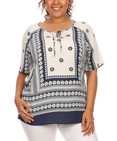 White & Navy Floral Tie-Neck Top #zulily #zulilyfinds