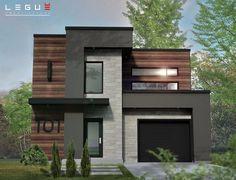 Modern home design House Front Design, Modern House Design, Modern Houses, Small Modern House Plans, House Elevation, Sims House, Modern Exterior, Interior Modern, Exterior House Colors
