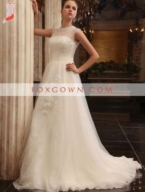luxury a line wedding dress with beading sheer bodice and high zipper back