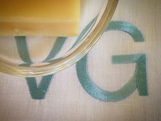 MarinaC - linen towels with embroidered monogram for a special customer in California #marinacmilano #foryourbathonly