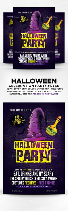 Halloween Party Flyer  Halloween Party Flyer Party Flyer And