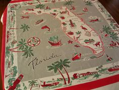 Vintage mid century Florida souvenir tablecloth with palm trees and flamingos - gray and red...