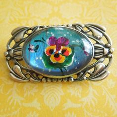 Vintage BUTTERFLY WING PAINTED PANSY FLOWER Sterling Silver Bubble Pin Brooch