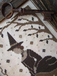 Victorian Witch, cross stitch pattern by The Little Stitcher