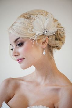 """Bridal Feather Fascinator - CHLOE - Handcrafted with layers of ostrich & goose feathers - Large jeweled focal piece 1"""" x 3/4"""" - Attac..."""