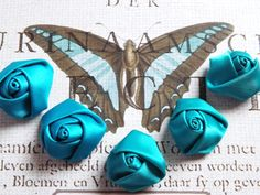 Satin fabric Flowers 5 Teal Blue Turquoise Fabric by sweetiefluhr