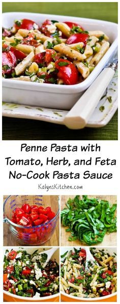 No-Cook Pasta Sauce is the perfect use for juicy garden tomatoes, and this sauce is delicious and easy to make!  You could eat over zucchini noodles for a low-carb option. [from KalynsKitchen.com] #Tomatoes