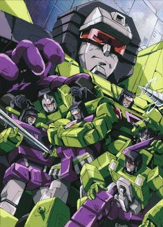 Hook, so wickedly smug; Long Haul, ready for action; Bonecrusher, aching to rip something apart; Mixmaster's boiling malevolence; Scavenger's psychotic obsequiousness; commander Scrapper, modest and vicious; and Devastator, whose name says it all. No combiner team, 'Bot or 'Con, is more impressive than THE CONSTRUCTICONS. )=D