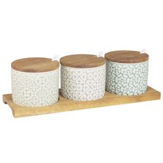 Snack Tray with 3 Green Stoneware ...