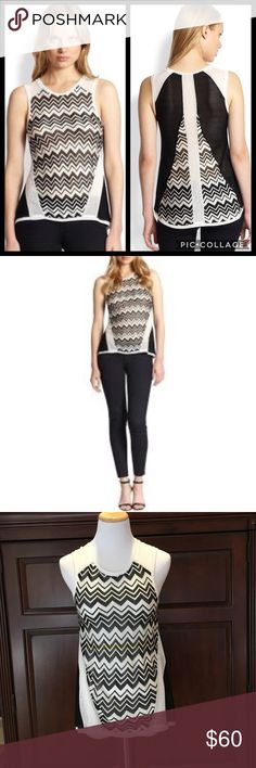 """Generation Love NWT Rosie Zig Zag Tank Sz S Generation Love NWT Rosie Zig Zag Tank Sz S, black/white, retail $110, think I bought from Revolve, 100% acetate, dry clean only, pointelle knit tank, mesh like sides, front center measured down 21"""", armpit to armpit 14"""", back center measured down 27"""", 🚫No Trades🚫 Generation Love Tops"""