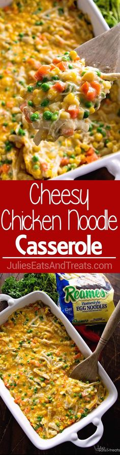 Cheesy Chicken Noodle Casserole ~ Easy, Hearty and Comforting Casserole Loaded with Chicken, Peas, Carrots, Corn and Egg Noodles!  via @julieseats #Reames # HomemadeGoodness #ad