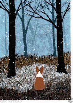 Pembroke Welsh Corgi Dog Winter Snow Tree Original Folk Art Painting Todd Young@jandrexler