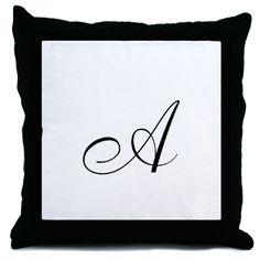 2 monogram A in black Throw Pillows