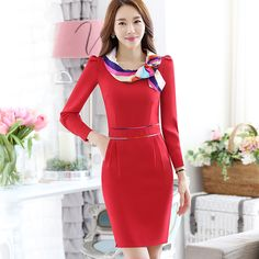 >> Click to Buy << New Fashion Long Sleeve O-Neck Sheath Formal Business Work Wear Office OL Autumn Ladies Elegant Mini Bow Dress Women Red Black #Affiliate