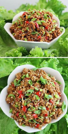 Slow Cooker Chicken Lettuce Wraps(or I would just throw it in a pan)  Use ground turkey and water chestnuts, omit rice, decrease hoisin/soy