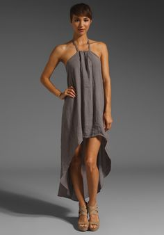 KRISA Linen Hi Low Halter Dress in Taupe at Revolve Clothing - Free Shipping!