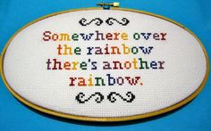 """""""Somewhere over the rainbow, there's another rainbow"""" - Tobias Funke  Arrested Development Cross Stitch by BananyaStand on Etsy"""