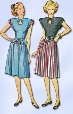 """Simplicity Pattern 1738 Misses' Peplum Dress Pattern with Keyhole Neckline Charming WWII Design A Simple to Make Design Dated 1946 Factory Folded and Unused Envelope is Worn and Repaired Size 14 (32"""""""