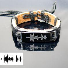 Sound waves bracelet. Personalized Womens Bracelet. Wedding anniversary gift. Voice recording. Leather Customized Bracelet by newyorkcustomermake on Etsy