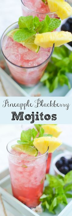 Pineapple Blackberry Mojitos